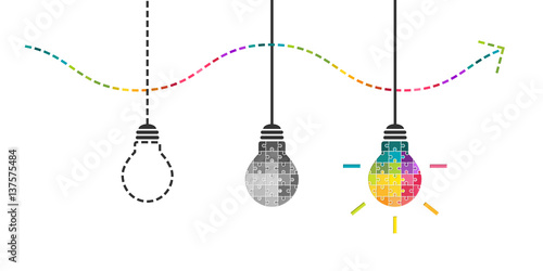 Fototapeta Thinking, perseverance and success concept with light bulb made of colorful puzzle pieces obraz na płótnie