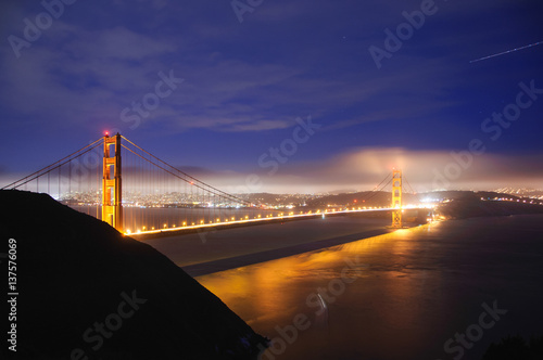 Keuken foto achterwand San Francisco Night view of the Golden Gate Bridge, San Francisco, California, USA
