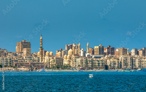 View of Alexandria harbor, Egypt Canvas Print