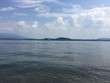 Lago con barca a vela, Lesa, Lago Maggiore, Italia