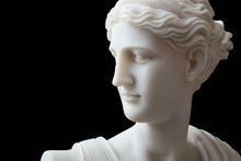 White Head Marble Statue Of Roman Ceres Or Greek Demeter Isolated On Black