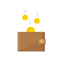 Golden Coins Money Flying In Wallet Vector Illustration, Idea Of Fund Savings, Cash Earnings, Financial Success, Getting Wealth, Salary Income Icon Isolated On White