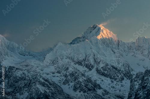 Zdjęcie XXL Gerlach, najwyższy szczyt Tatr zimą