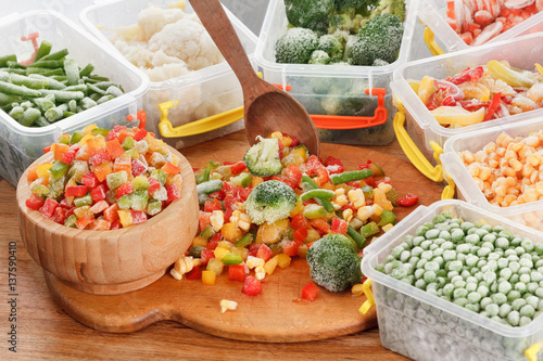 Obraz Healthy food frozen vegetables. Cooking ingredients. - fototapety do salonu