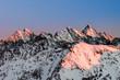 Poland, Winter High Tatras seen from Zawrat pass in the evening