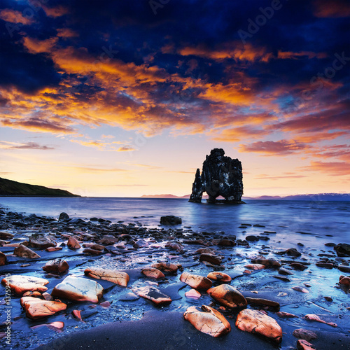 Acrylic Prints Hvitserkur is a spectacular rock in the sea