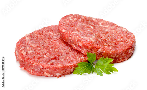 Poster Vlees Raw hamburger meat on white