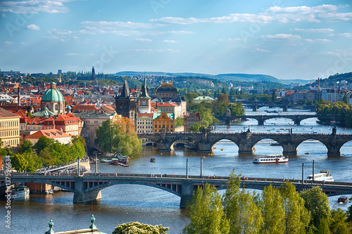 Foto op Canvas Praag Prague bridges, aerial cityscape, Czech Republic