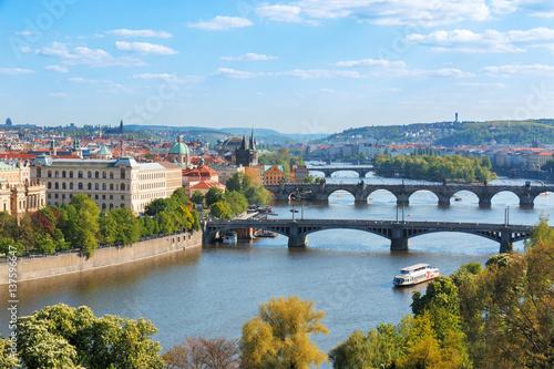 Fototapeta Prague bridges, aerial cityscape, Czech Republic obraz na płótnie