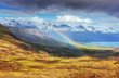 canvas print picture - Fantastic views of the mountains and a little rain