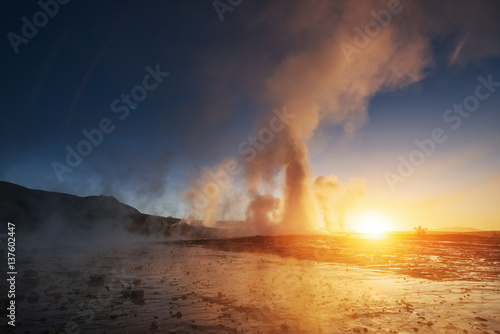Aluminium Prints Heaven Fantastic sunset Strokkur geyser eruption in Iceland