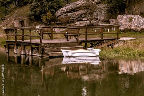 Fotografie, Obraz  Small row boat sitting in pond
