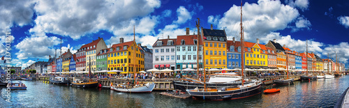 Wall Murals European Famous Place Colorful houses at Nyhavn, Copenhagen, Denmark