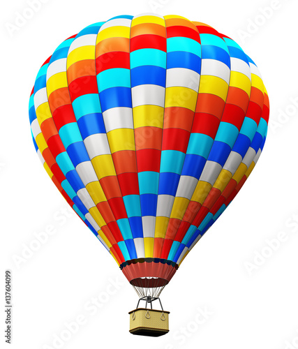 Poster Montgolfière / Dirigeable Color hot air balloon isolated on white background