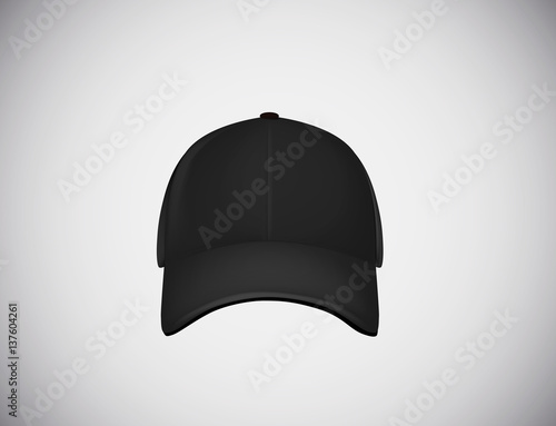 Fotografia  Realistic front view black baseball cap isolated on white background vector illustration
