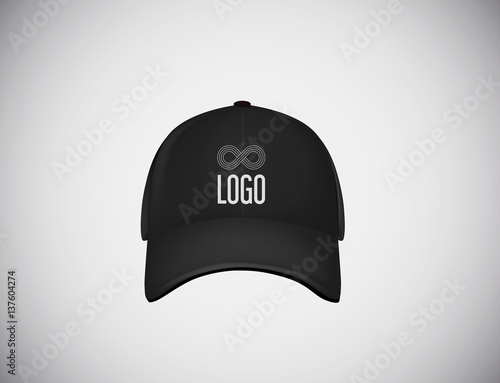 Valokuva  Realistic front view black baseball cap with logo lettering for advertising isolated on white background vector illustration