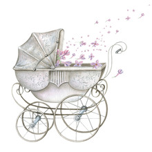 Watercolor Retro Baby Carriage...