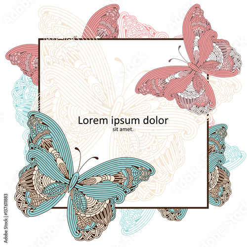 Background with hand drawn zen art doodle butterfly frame for background with hand drawn zen art doodle butterfly frame for wedding invitation greeting card stopboris Image collections