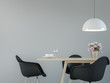 Leinwanddruck Bild - Modern dining room interior with black & white 3d rendering image.There are minimalist style ,Empty grey wall,black chair and wood desk