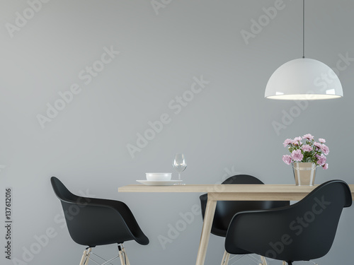 Fotografía  Modern dining room interior with black & white 3d rendering image