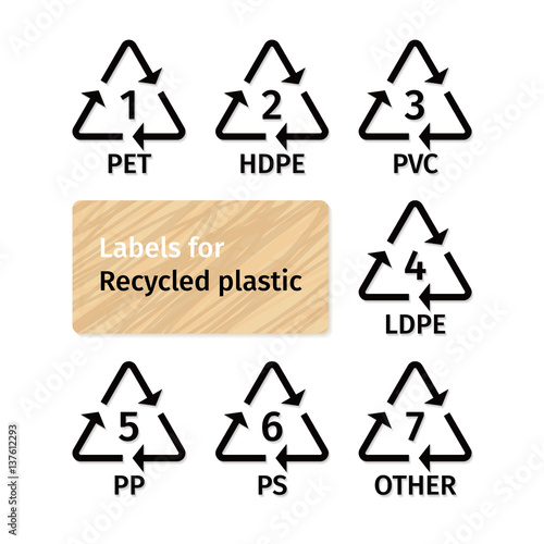 Photo  Labels for recycling plastic types