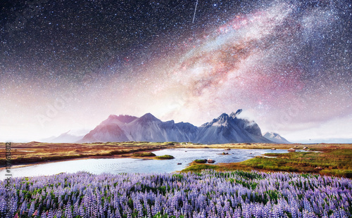 Spoed Foto op Canvas Purper The picturesque landscapes of forests and mountains Iceland.