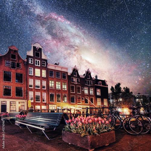 Beautiful calm night view of Amsterdam city. Photo greeting card Canvas Print