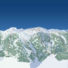 West Coast Of North America Ski Map. When Folded In Vertial Quarters, The Two Outside Pieces Form A Snowflake Pattern With The Tree Line.