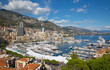 Principality of Monaco. View of the seaport and the city of Monte Carlo with luxury yachts and sail boats