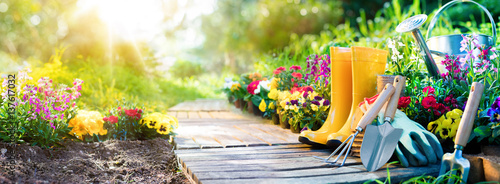 Spoed Fotobehang Tuin Gardening - Set Of Tools For Gardener And Flowerpots In Sunny Garden
