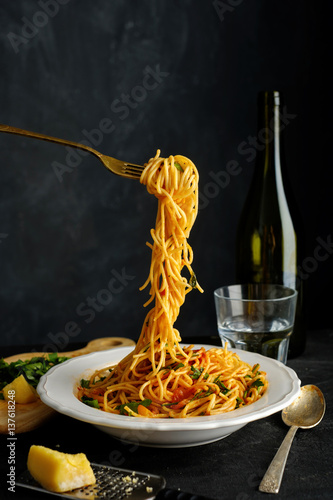 Pasta with fresh tomatoes and herbs Canvas Print
