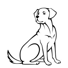 Vector Black And White Illustration Of A Sitting Dog Isolated On A White Background.
