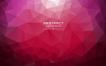 Abstract Multicolored Polygon, Low Polygon Background. Transfusion Of Color. Pink, Burgundy, Purple, White, Red Colors. Watercolor Effect. Geometric Pattern