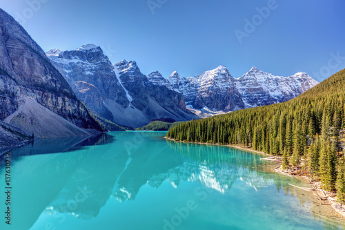 Poster Canada Turquoise splendor Moraine Lake in Banff National Park, Alberta, Canada