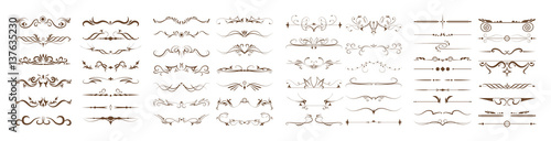 Valokuva  Ornamental dividers set on white background
