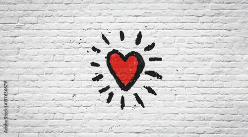 Papiers peints Graffiti Coeur sur mur de briques