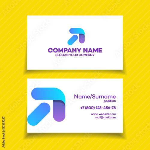 Business Card With Progress Logo And Arrow Up For Growing