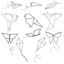 Set Of Origami Birds, Planes, ...
