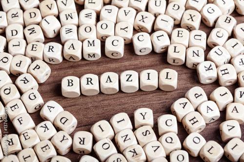Papiers peints Amérique du Sud Brazil, country name in letter dices