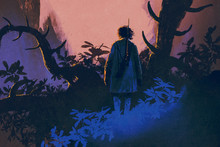 The Man With A Gun Standing On A Big Trees At Sunset,illustration Painting