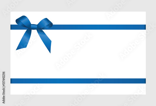 Gift Card With Blue Ribbon And A Bow On White Background Gift