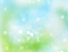 Blue Green Abstract Spring Blurred Background.