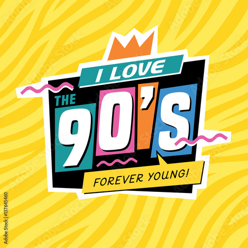 The 90's style label. Vector illustration. Canvas Print