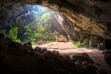 Khao Sam Roi Yot National Park Outdoor Landscape, Thailand, Southeast Asia Famous Royal Pavilion In Phraya Nakhon Cave. Morning Sunbeam On Golden Buddhist Pavilion In Wild Cave, Sam Roi Yot, Thailand