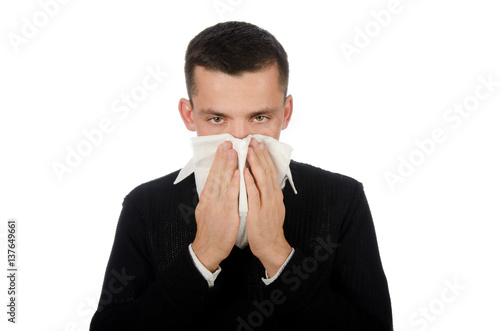 Fotografia, Obraz  Runny nose. Young man and colds.