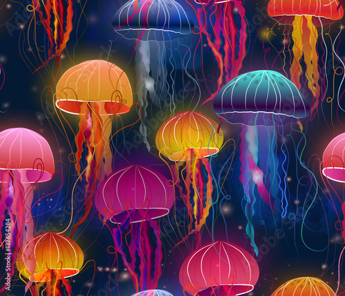 rainbow jellyfish under sea Wall mural