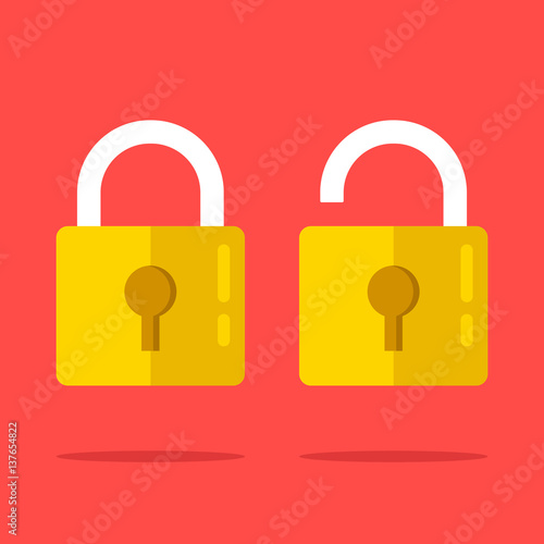 Open and closed lock icons set. Two yellow padlocks. Closed and open lock objects concept. Modern graphic elements. Flat design vector illustration Wall mural