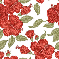 FototapetaVintage red hibiscus flowers. Vector seamless pattern. Illustration for fabrics, gift packaging
