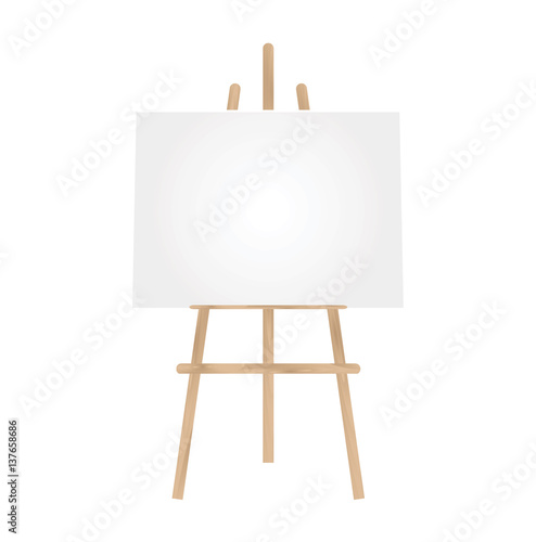 3D illustration  blank canvas on a wooden easel isolated on a  white background Canvas Print