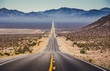 canvas print picture - Endless straight highway in the American Southwest, USA